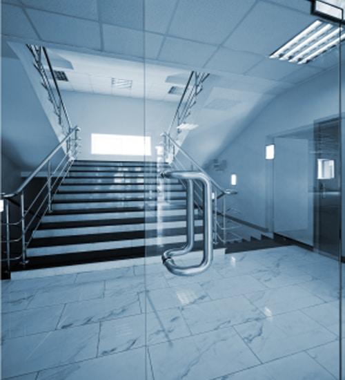 Glass door in front of stairwell