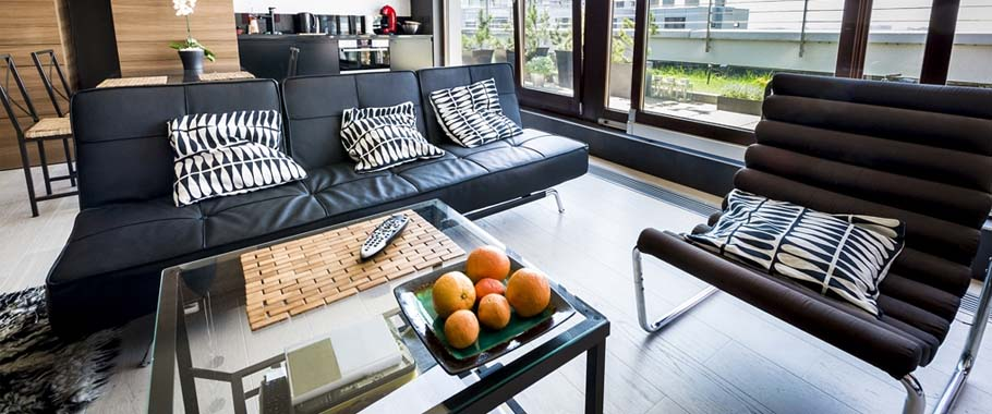 Glass table top in lounge area